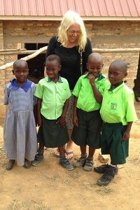 Judy Shepherd in Uganda at a primary school
