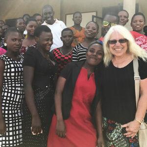 Judy Shepherdat WOSO secondary school in Uganda